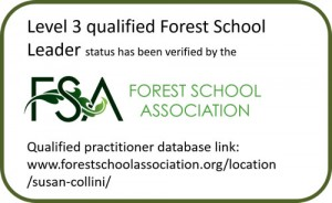 Forest School Association badge for Susan Collini