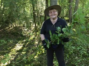 woman holding hazel branches in woodland