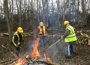 three people tending a fire in woodland
